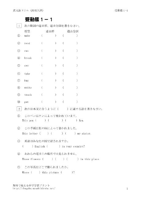 受動態 -中学生の英文法ドリル : 中学1年英単語プリント : プリント